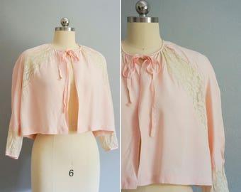 1950s Adore Me Always pink bed jacket | vintage 50s bed jacket | vintage 50s pink jacket medium
