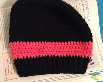 Black hat w/ colored stripe