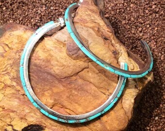 Native American Jewelry Sterling Silver Turquoise Inlaid OVERSIZED Southwest Half Hoop Earrings