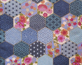 coupon 50 x 55 cm fabric Japanese chirimen blue Hexagon patchwork