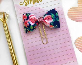 Navy Floral Planner Clip / Planner Paper Clip