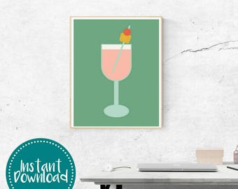 Tropical Drink Graphic Printable Wall Art