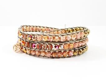 Rose Golden Lotus~Handmade Wrap Bracelet~Swarovski Crystals~Rose Gold Bracelet~Lotus Charm~Yoga Jewelry~3 Wrap Bracelet