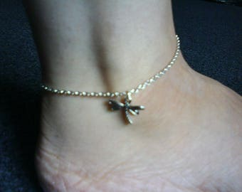 Lolirosa Silver Tone Dragonfly Charm Anklet Ankle Chain