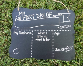 First and Last Day of School Reusable Two Sided Chalkboard,  Photo Prop, Back to School