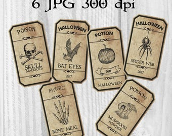 6 Potion labels, Halloween decorations, Apothecary jar labels, Halloween party tags, Digital collage sheet, Paper crafting, Scrapbooking