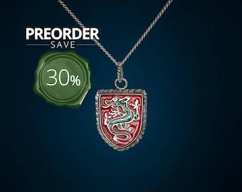 PREORDER till 25.6. Dragon on shield pendant
