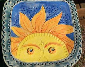 Handcrafted Sun Face Stoneware Clay Plate