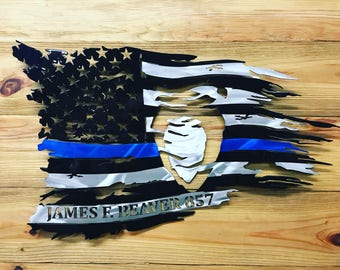 CMPD Thin Blue Line Tattered Flag