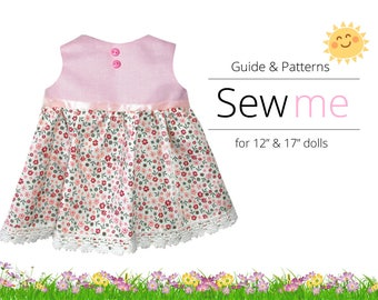 "Sewing Patterns for 12"" & 17"" Waldorf Doll. Dress"