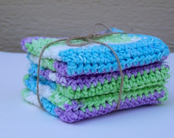 Delicate Cotton Washcloth / Large Crochet Washcloth / Striped Handmade Washcloth / Striped Cotton Washcloth  / Crochet dishcloth