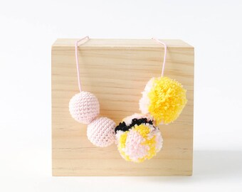 Blush Mosaic Pompom Crochet Necklace   Fun & Bright Womens and Girls Necklace, Crafty Necklace, Pom Pom Necklace, Crochet Necklace