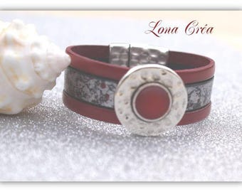 Red leather Cuff Bracelet and gray, red cabochon clasp in Zamak silver loop