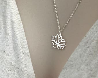 Silver Lotus Flower Necklace, Minimalist Jewelry, Yoga, Yogi, Zen, Good Fortune, Enlightenment, Simple, Petite, Delicate,  Trending Now