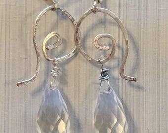 Ancient Earrings / Antique Earrings Style / Roman Jewelry / Greek Jewelry / Crystal Teardrop Silver Hammered Wire Dangle Drop Earrings