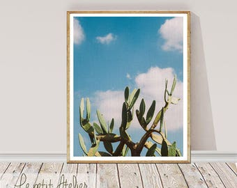 Cactus print, Cactus PRINTABLE art, Blue and green, Southwestern decor, Minimalist, Modern art, Cactus prints, Nature print, Trendy art