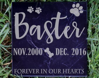 Personalized Pet Memorial Stone - Customized Headstone for Your Pet Companion - In Our Hearts D13