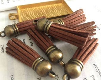 50pieces brown suede leather Bronze plastic caps ear tassel --for length 45mm
