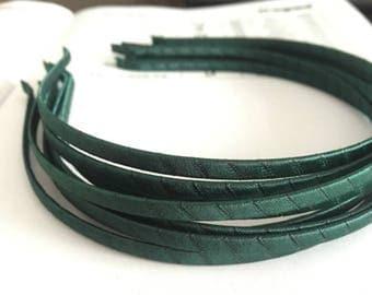 10pieces dark green satin metal hair headband covered 5mm wide