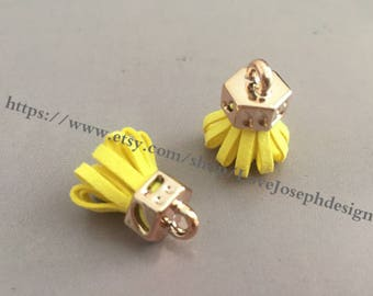 20pieces yellow suede leather KC gold caps ear tassel --for length 30mmx20mm(#0190)