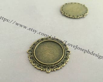wholesale 100 Pieces /Lot Antique Bronze Plated 20mm cabochon blanks trays charms (#0265)