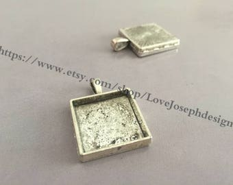 20 Pieces /Lot Antique Silver & bronze Plated 20mm square cabochon bezel trays charms(#0354)