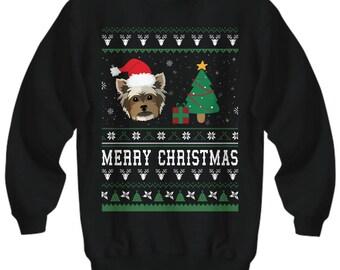 Merry Christmas Yorkie, Yorkie Christmas Sweater, Ugly Sweater Yorkie, Yorkie Shirt, Yorkie, Yorkie Clothes, Yorkie Gifts, Yorkie Mom