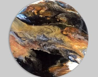 Abstract Painting. Original Resin Art. Circle art. Modern Art. Home Decor. Fluid painting in White, Gold, Black, Copper. Gorgeous gift.