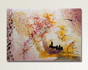 Original: skyline painting / modern painting in red, orange and purple on canvas. By RluArt