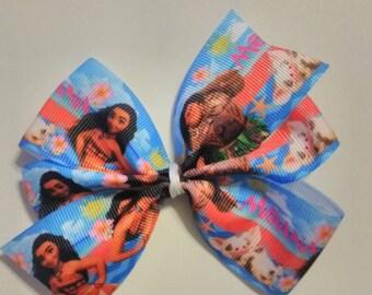 Moana hair bow, Moana ponytail tie, Maui hair bow, character hair bow, Hawaiian hair bow, tropical hair tie