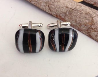 Stylish cufflinks, fused glass cuff links, black and white, handmade gift for men, suit accessories, men's wear, mens gift