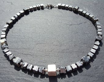 Necklace made of silver-grey Hematite