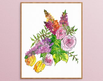 Floral Art Print - Watercolor Painting - Botanical Print - Floral Artwork - Watercolor Nursery - Pink Roses Painting - Floral Painting - Art