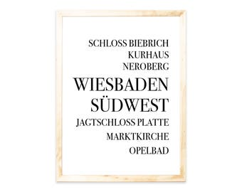 Poster, Wiesbaden, Städteprint, city