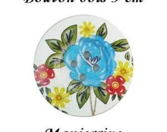 2 buttons wood 5 cm flower II