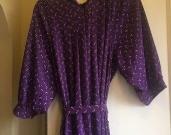 Vintage Bon Marche Purple and White Long Sleeve Dress Size 16 1/2 Medium