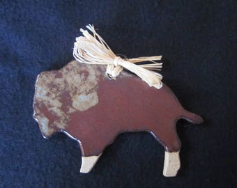 Pottery, Buffalo, Bison, Ornament, Christmas Ceramic, Handmade