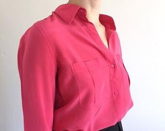 90s 100% Silk Pocket Shirt | S