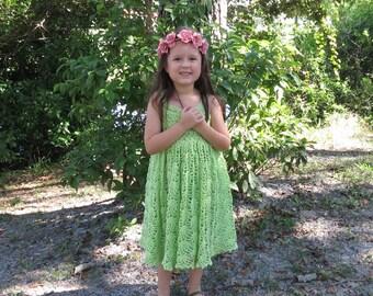 Princess crochet dress, Pink or green girls dress, flower girl dress, special occasion dress, princess dress, handmade little girls dress