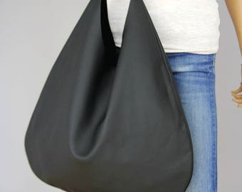 BLACK  HOBO bag, Black Handbag for Women, Black Handbag for Women,  Soft Leather Bag, Every Day Bag, Women black bag, Oversized bag