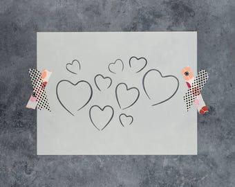 Valentines Stencil - Reusable DIY Craft Stencil of Valentines Hearts