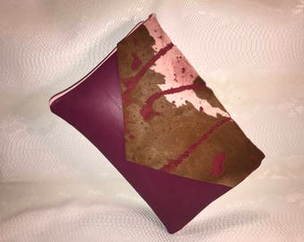 XL Leather Plum Clutch with Pink Leather Piping