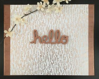 Hello - Canvas Sign, Entryway Decor, Girls Room Decor, Dorm Decor, Rose Gold Decor, Gallery Wall, Housewarming Gift, Hello Sign