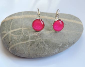 Earrings neon pink nail polish cabochon ღ ღ