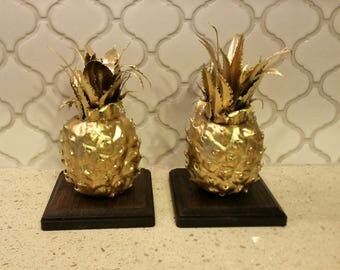 Gold Giraffe Bookends and Gold Pineapple Stands/Bookends