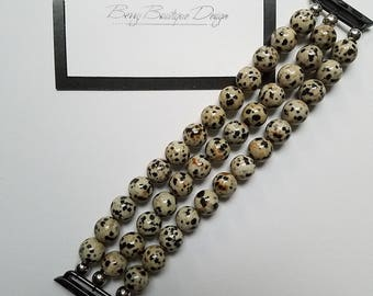 Apple Watch Band, Apple Watch Band 38mm, Apple Watch Band 42mm, Natural Dalmation Jasper Beads