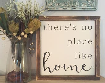 "13.5""x13.5"" There's No Place Like Home/wood sign/word art/distressed sign/wall décor/rustic"