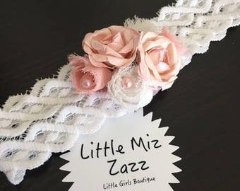 lace headband with roses and pearl detail
