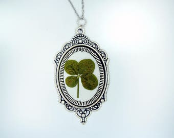 Genuine 4 Leaf Clover Cameo Necklace [LC 018] / Stainless Steel / White Clover Pendant / Triforium Repens Gift / Good Luck Charm