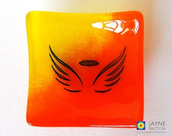 Glass angel bowl, symbol of love, orange and yellow glass dish, tea light candle holder, fire element, angelic gift, earring dish, tealight